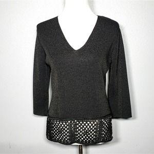 Joseph A Black Knit Top Open Weave Sequins L